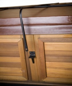 Side view of a Cover Lock on the hot tub